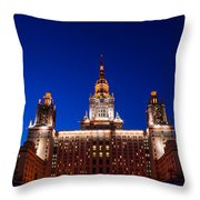 Main Building Of Moscow State University At Winter Evening - 5 Throw Pillow