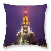 Main Building Of Moscow State University At Winter Evening - Featured 3 Throw Pillow