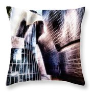 Main Entrance Of Guggenheim Bilbao Museum In The Basque Country Fractal Throw Pillow