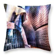 Main Entrance Of Guggenheim Bilbao Museum In The Basque Country Spain Throw Pillow