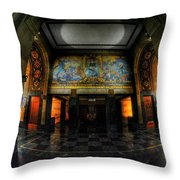 Main Lobby Of City Hall Buffalo Ny Rear Throw Pillow
