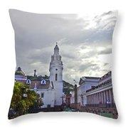 Main Square In Quito Ecuador Throw Pillow