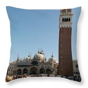 Main Square In Venice Throw Pillow