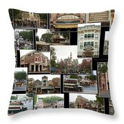 Main Street Disneyland Collage 02 Throw Pillow