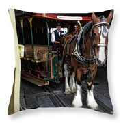 Main Street Horse And Trolley Throw Pillow