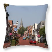 Main Street In Downtown Annapolis Throw Pillow