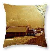 Main Street In Mountain Village Throw Pillow