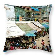 Main Street Marketplace In Tachilek-burma Throw Pillow