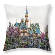 Main Street Sleeping Beauty Castle Disneyland 01 Throw Pillow