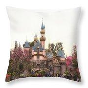 Main Street Sleeping Beauty Castle Disneyland 02 Throw Pillow