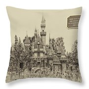 Main Street Sleeping Beauty Castle Disneyland Heirloom 03 Throw Pillow