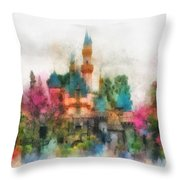 Main Street Sleeping Beauty Castle Disneyland Photo Art 01 Throw Pillow