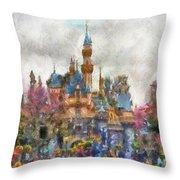 Main Street Sleeping Beauty Castle Disneyland Photo Art 02 Throw Pillow