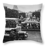 Main Street Transportation Disneyland Bw Throw Pillow