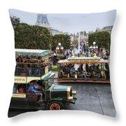 Main Street Transportation Disneyland Throw Pillow