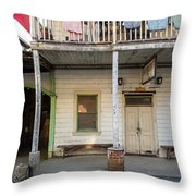 Main Street With Shops And Museum Throw Pillow