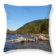 maine 1 Acadia National Park Jordan Pond in Fall Throw Pillow