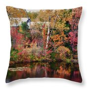 Maine Barn Through The Trees Throw Pillow by Jeff Folger