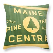 Maine Central The Pine Tree Route Throw Pillow