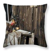 Maine Fishing Buoys And Nets Throw Pillow