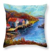 Maine Harbor Throw Pillow