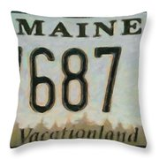 Maine License Plate Throw Pillow