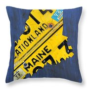Maine License Plate Map Vintage Vacationland Motto Throw Pillow by Design Turnpike
