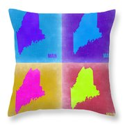 Maine Pop Art Map 2 Throw Pillow by Naxart Studio