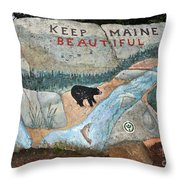 Maine Rock Painting Throw Pillow