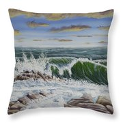 Crashing Waves At Pemaquid Point Maine Throw Pillow