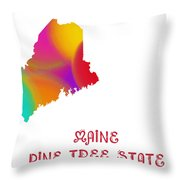 Maine State Map Collection 2 Throw Pillow