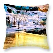Maine Winter Along The Androscoggin River Throw Pillow