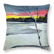 Maine Winter Sunset Throw Pillow