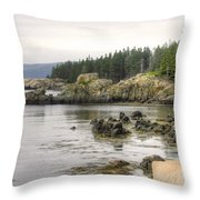 Maine's Beautiful Rocky Shore Throw Pillow