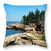 Maine's Rocky Coastline Throw Pillow