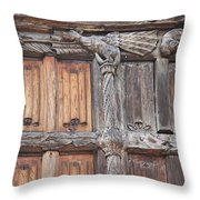 Maison De Bois Macon - Detail Wood Front Throw Pillow