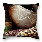 Pottery And Maize Indian Corn Still Life In New Orleans Louisiana Throw Pillow