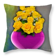 Majenta Heart Vase With Yellow Roses Throw Pillow