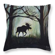 Majestic Bull Moose Throw Pillow