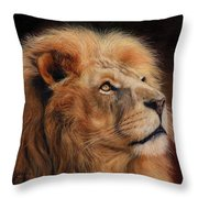 Majestic Lion Throw Pillow by David Stribbling