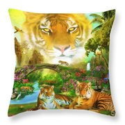 Majestic Tiger Grotto Throw Pillow