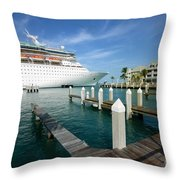 Majesty Of The Seas Docked At Key West Florida Throw Pillow