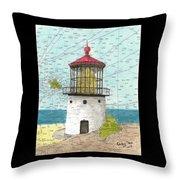 Makapuu Lighthouse Oahu Hi Nautical Chart Map Art Throw Pillow