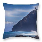 Makapuu Point Lighthouse- Oahu Hawaii Throw Pillow