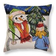 Make A Wish Snowman Throw Pillow