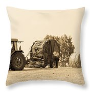 Farm - Tractor - Hay - Making The Drop Throw Pillow