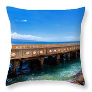 Mala Wharf Panorama 1 Throw Pillow