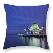 Malacca Straits Mosque At Blue Hour Throw Pillow