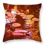 Malard Duck On Pond 3 Throw Pillow