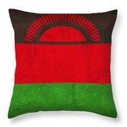 Malawi Flag Vintage Distressed Finish Throw Pillow